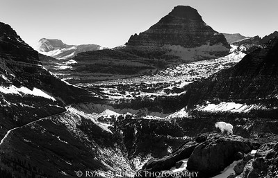 The Going-to-the-Sun road winds its way up to Logan's Pass, while the triangular north face of Reynold's Mountain dominates the skyline. A mountain goat walks out on a nearby rock outcropping to admire the view. Glacier National Park was created in 1910 to protect scenes like this, but the times are changing. Our national parks are now over-crowded with people, in most cases to the detriment of the natural environment. Maybe it's time to create some more parks.