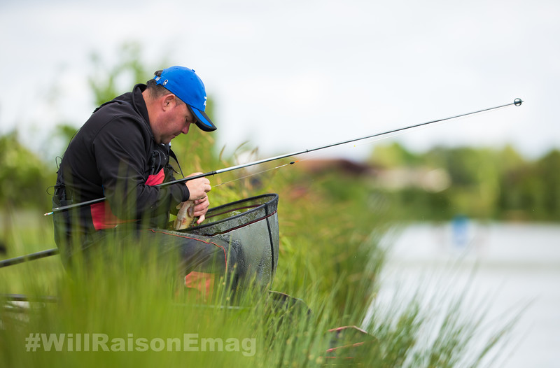 Will Raison unhooks a small carp.