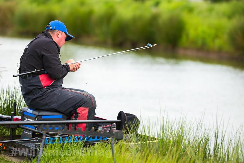 Will Raison baits up a short pole rig.