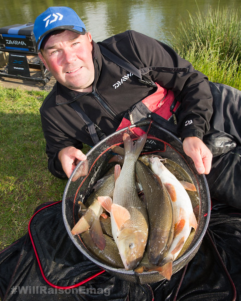 Will Raison with part of his barbel catch from Westwood Lakes, Skylark Lake.