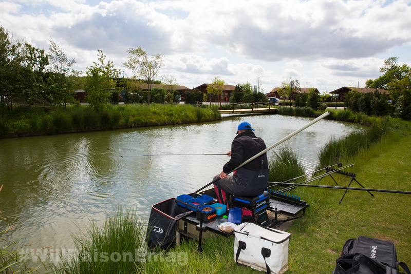 Will Raison playing a fish on a silver painted topkit and white Hydrolastic  on a commercial  canal style lake. Skylark at Westwood Lakes, Boston Lincs.