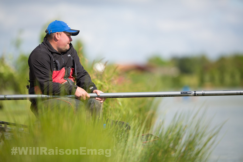 Will Raison holding the butt section of the Daiwa Air pole fished long.