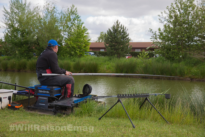 Will Raison  fishing the long pole across to the far bank margin.