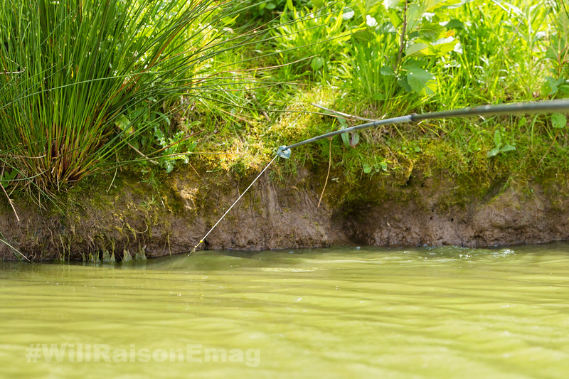 Water erupts in the shallow far bank margins as a fish is hooked on a silver painted top kit .