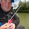 Will Raison shows the depth of his far side pole rig with a Guru plummet still attached.