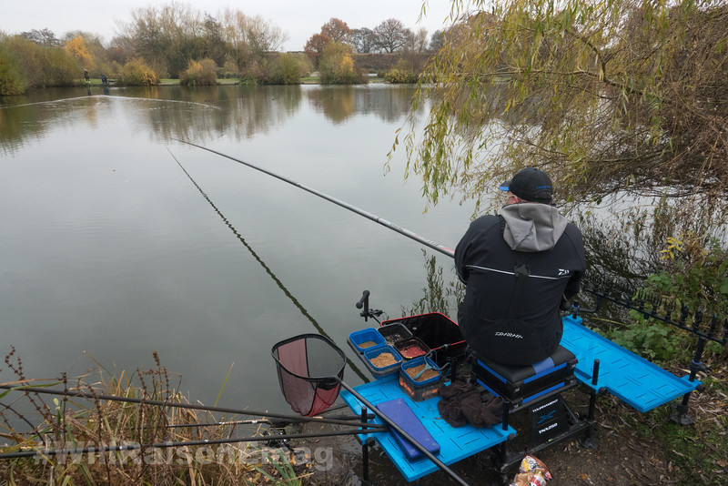 Will Raison fishing the long pole at 14.5 metres in open water on Middle Lake for F1 carp.