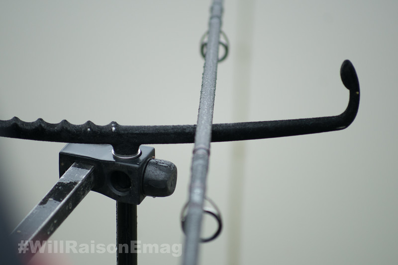 The feeder rod on the rod rest.