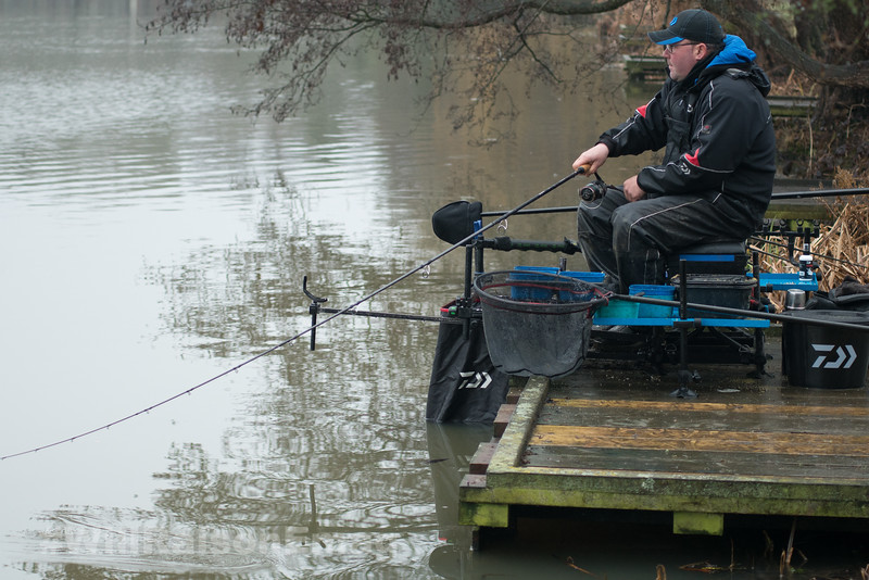 Retrieving the feeder rig with a fish on.