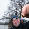 Will Raison displays a double hair-rigged worm hook bait.