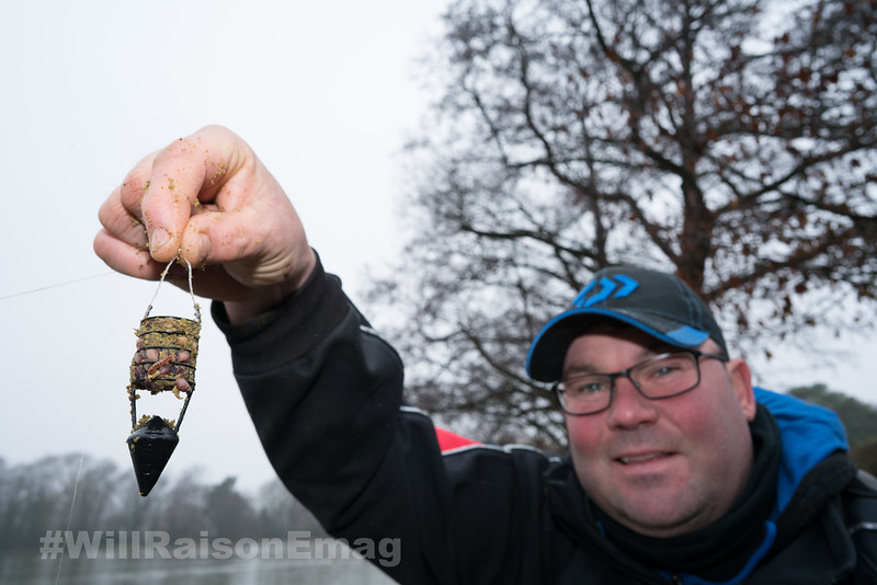 Will Raison with a loaded chopped worm and groundbait filled rocket feeder.