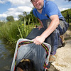 Will Raison fishing the pellet waggler on Gold Lake at Gold Valley, Aldershot, UK.