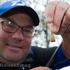 Will Raison holds up the baited hook showing the size of paste he uses for the F1s.