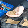 Neat fine fishmeal ground bait mixed with micro pellets.