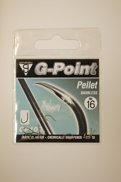 Packet of Gamakatsu G-Point Pellet barbless hooks in size 16, © 2010 Brian Gay