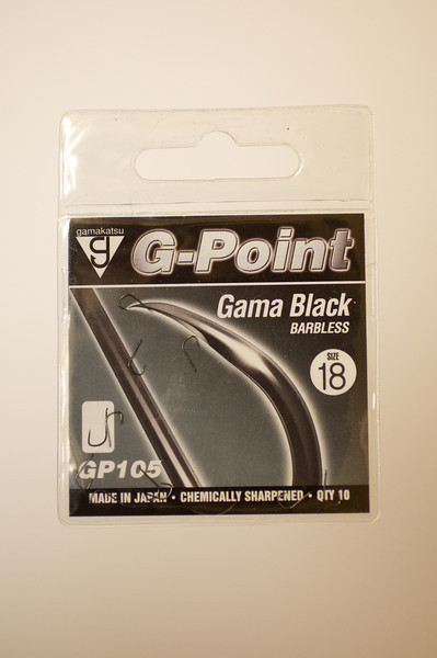 Packet of Gamakatsu G-Point Gama Black barbless hooks size 18. pattern no. GP105. © 2010 Brian Gay
