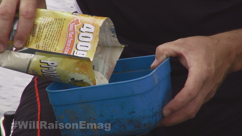 Making paste - tipping the old Protein Binder powder into a bait box.