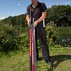 Holding a Daiwa Yank'N'Bank pole.