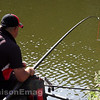 Red hydrolastic under tension from the pole and a hard fighting margin carp.