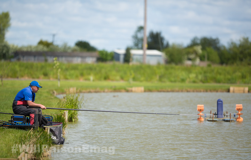 Will Raison fishing the short pole shallow towards the middle.
