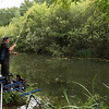 Will Raison plumbing up a long pole bream swim on the Baisngstoke  Canal at Claycart.