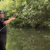 Will Raison adjusting a long pole bream rig on the Basingstoke Canal at Claycart.