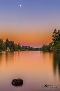 """""""Golden Goodnight,"""" Moonrise over the Willamette River at  Sunset, Willamette River, Lake Oswego, Oregon"""