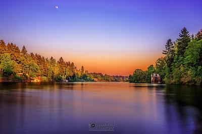 """Lazy Days,"" Moonrise at Sunset over the  Willamette River, Lake Oswego, Oregon"