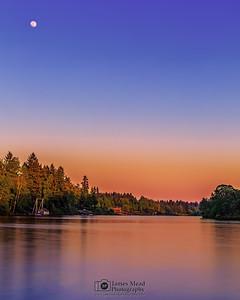 """Hello, Moon,"" Moonrise at Sunset over the  Willamette River, Lake Oswego, Oregon"
