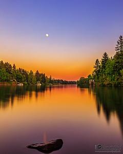 """""""Inner Calm,"""" Moonrise Sunset over the Willamette River,"""" Lake Oswego, Oregon"""