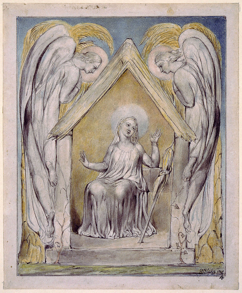 Mary at Her Distaff Watched Over by Two Angels