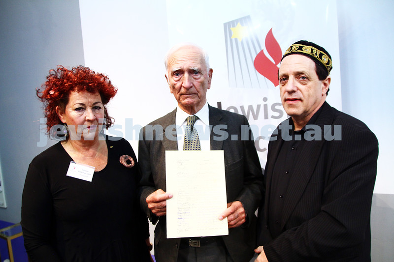 "6-12-13. Jewish Holocaust Centre. 75th anniversary of William Cooper march to Germany Embassy in melbourne to present petition against Kristalnacht. Cooper's grandson, Alfred ""uncle Boydie"" Turner spoke at the JHC. From left: Pauline Rockman, Alfred Turner, Aubrey Schwarz. Photo: Peter Haskin"