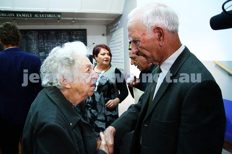 "6-12-13. Jewish Holocaust Centre. 75th anniversary of William Cooper march to Germany Embassy in melbourne to present petition against Kristalnacht. Cooper's grandson, Alfred ""uncle Boydie"" Turner speaking to one of the guests. Photo: Peter Haskin"