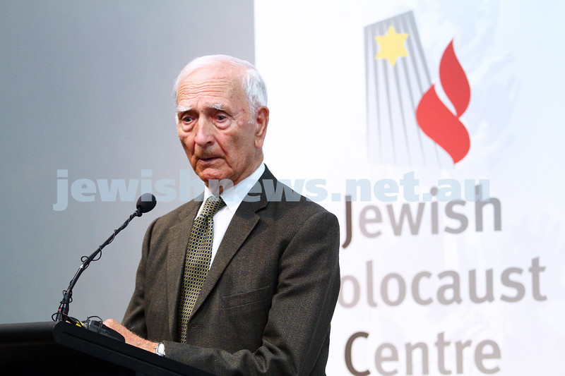"6-12-13. Jewish Holocaust Centre. 75th anniversary of William Cooper march to Germany Embassy in melbourne to present petition against Kristalnacht. Cooper's grandson, Alfred ""uncle Boydie"" Turner speaking at the JHC. Photo: Peter Haskin"