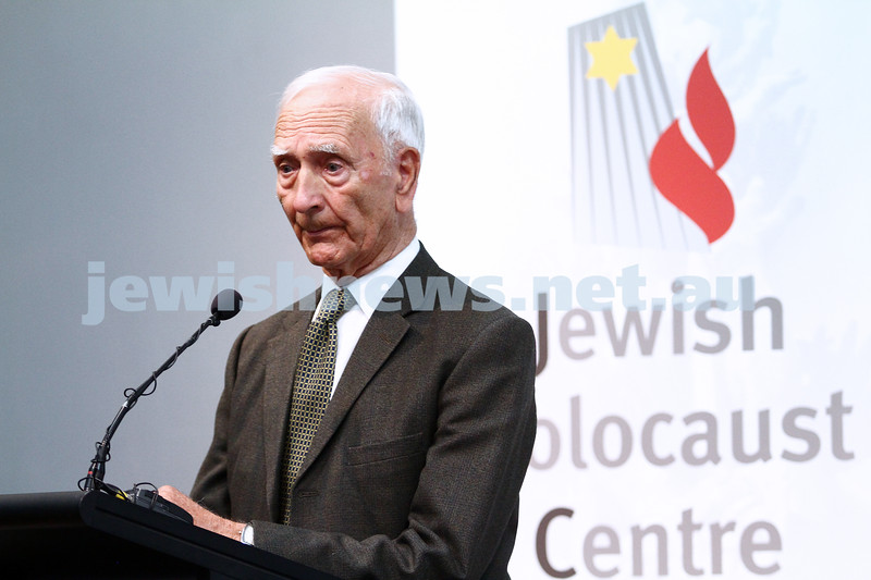 "6-12-13. Jewish Holocaust Centre. 75th anniversary of William Cooper march to Germany Embassy in melbourne to present petition against Kristalnacht. Cooper's grandson, Alfred ""uncle Boydie"" Turner spoke at the JHC. Photo: Peter Haskin"