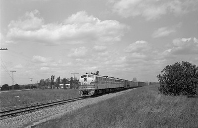 2013.010.CBQ.D.0123D--bill kuba 6x9 neg--CB&Q--EMD diesel locomotive 123D on southbound freight train--south of Savanna IL--1963 0518