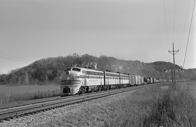 2013.010.CBQ.D.0131A--bill kuba 6x9 neg--CB&Q--EMD diesel locomotive 131A on westbound freight train 97--near Savanna IL--1963 1026