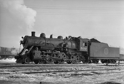 2013.010.CGW.S.0507--bill kuba 6x9 neg--CGW--steam locomotive 4-6-0 507--Oelwein IA--1949 0000