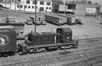 2013.010.CRIP.D.0532--bill kuba 6x9 neg--CRI&P--EMD diesel switcher locomotive 532 switching freight cars scene--Cedar Rapids IA--1965 0502