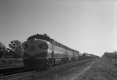 2013.010.MP.D.0546-1--bill kuba 6x9 neg--MP--EMD diesel locomotive (1st) 546 on southbound freight train--Longview TX--1952 0400