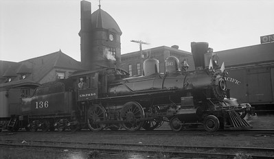 2013.010.CMO.S.0136--bill kuba 116 neg--CStPM&O--steam locomotive 4-4-0 E-6 136 on passenger train at depot--location unknown--no date