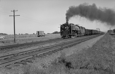 2013.010.UP.AS.0829C--bill kuba 6x9 neg--UP--steam locomotive 4-8-4 829 on freight train action--north of North Bend NE--1958 0927