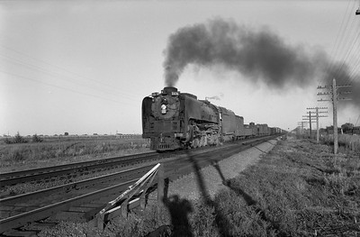 2013.010.UP.AS.0836B--bill kuba 6x9 neg--UP--steam locomotive 4-8-4 836 on freight train action--between Ames and North Bend NE--1958 0927