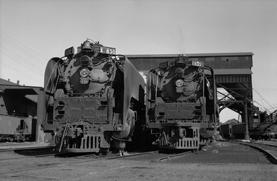 2013.010.UP.AS.0830C--bill kuba 6x9 neg--UP--steam locomotive 4-8-4 830 835 scene at servicing facility--Grand Island NE--1958 1011