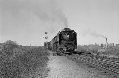 2013.010.UP.AS.0804B--bill kuba 6x9 neg--UP--steam locomotive 4-8-4 804 on freight train action at Missouri River bridge--Council Bluffs IA--1958 1026