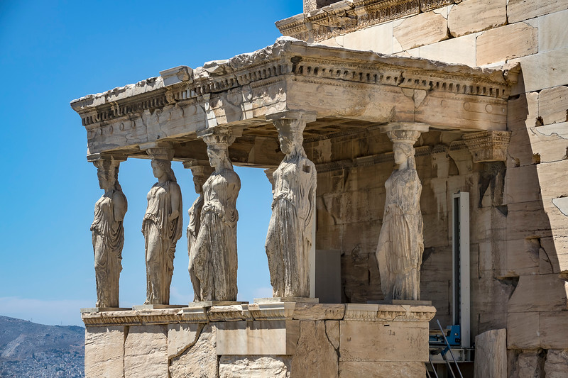 Caryatids of the Acropolis, Athens, Greece.