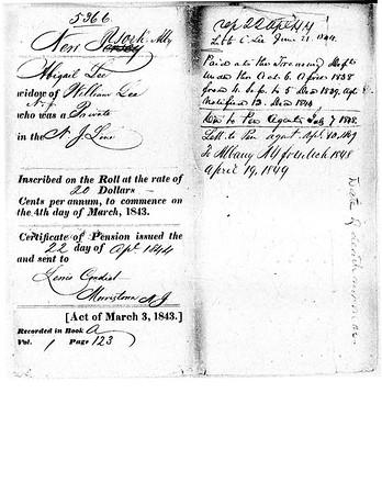 1840 William Lee Pension