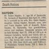 1996 Rubin Hayden death clipping Joy 2nd husband