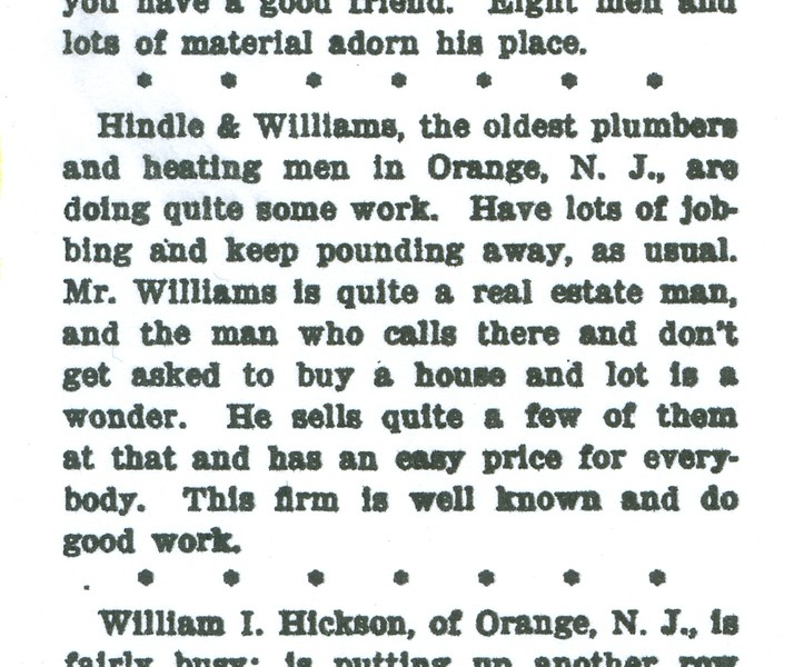 1903 article Hindle & Williams Plumbers Trade Journal