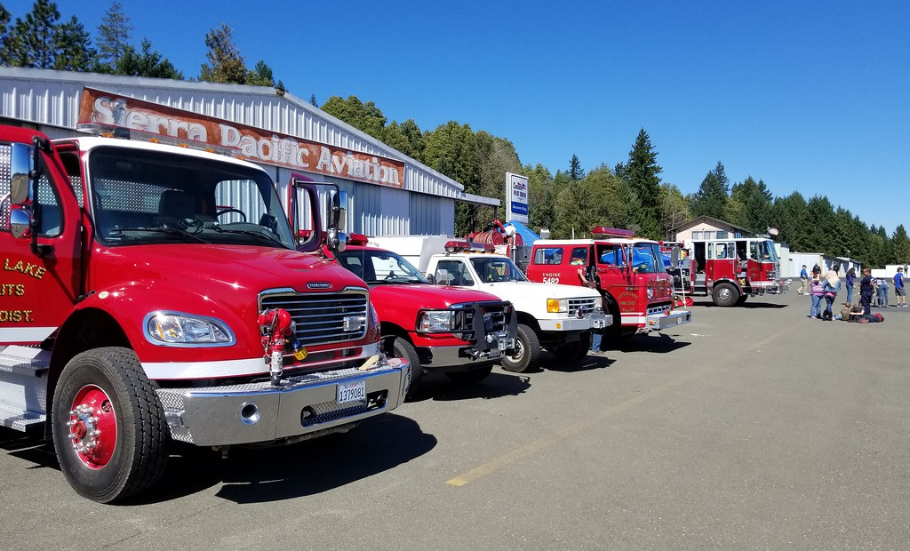 . Little Lake Fire and Brooktrails Fire departments joined the fun at Willits Airport Day and also served the dual purpose of being ready to respond in case of emergency. AURA WHITTAKER FOR THE WILLITS NEWS