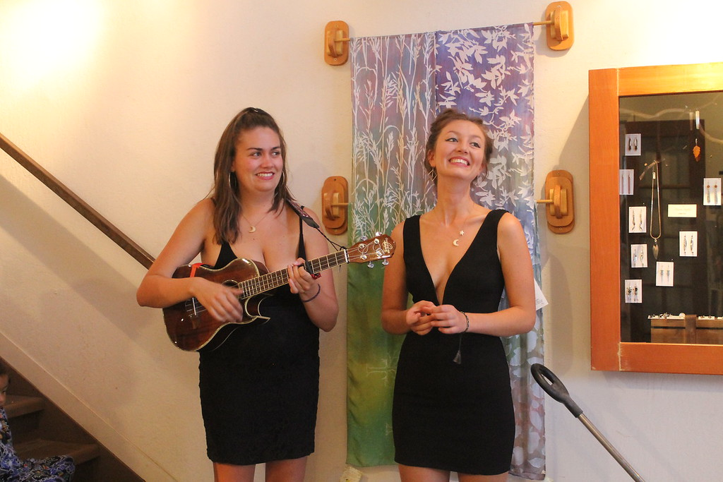 . Singer songwriter Sarah Rose and a friend attend the opening of the Willits Center for the Arts\' new exhibit on Friday.